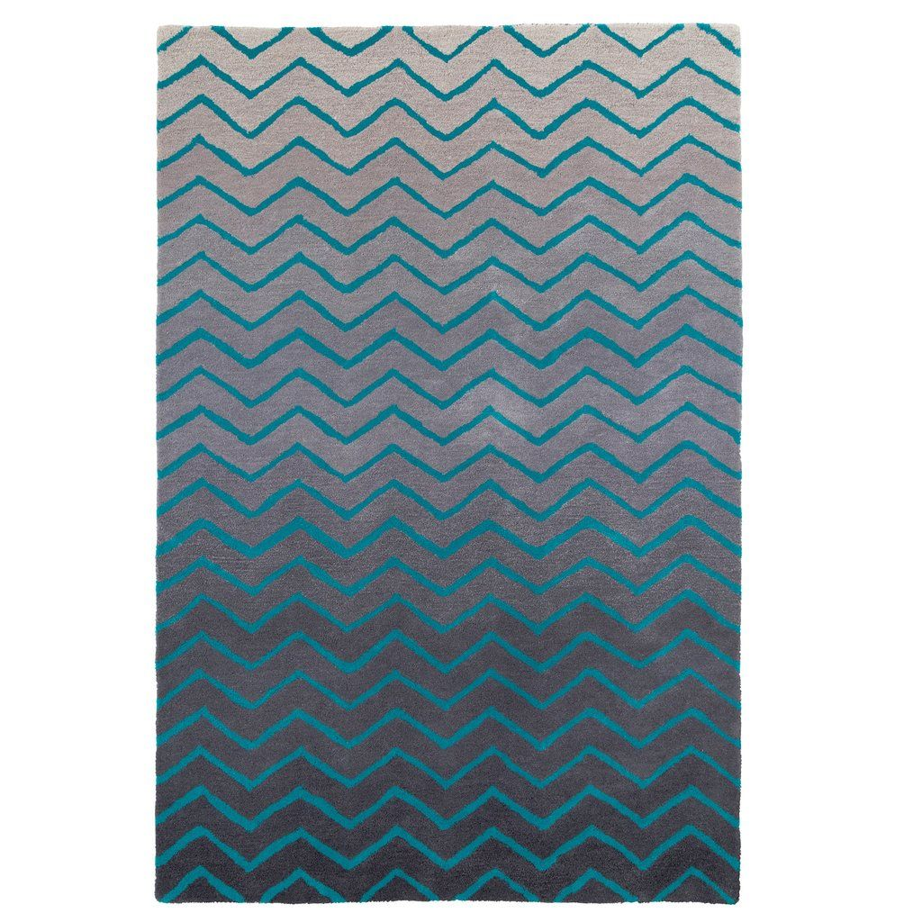 100 Wool Chevron Rug In Grey And Blue Pasx Uk