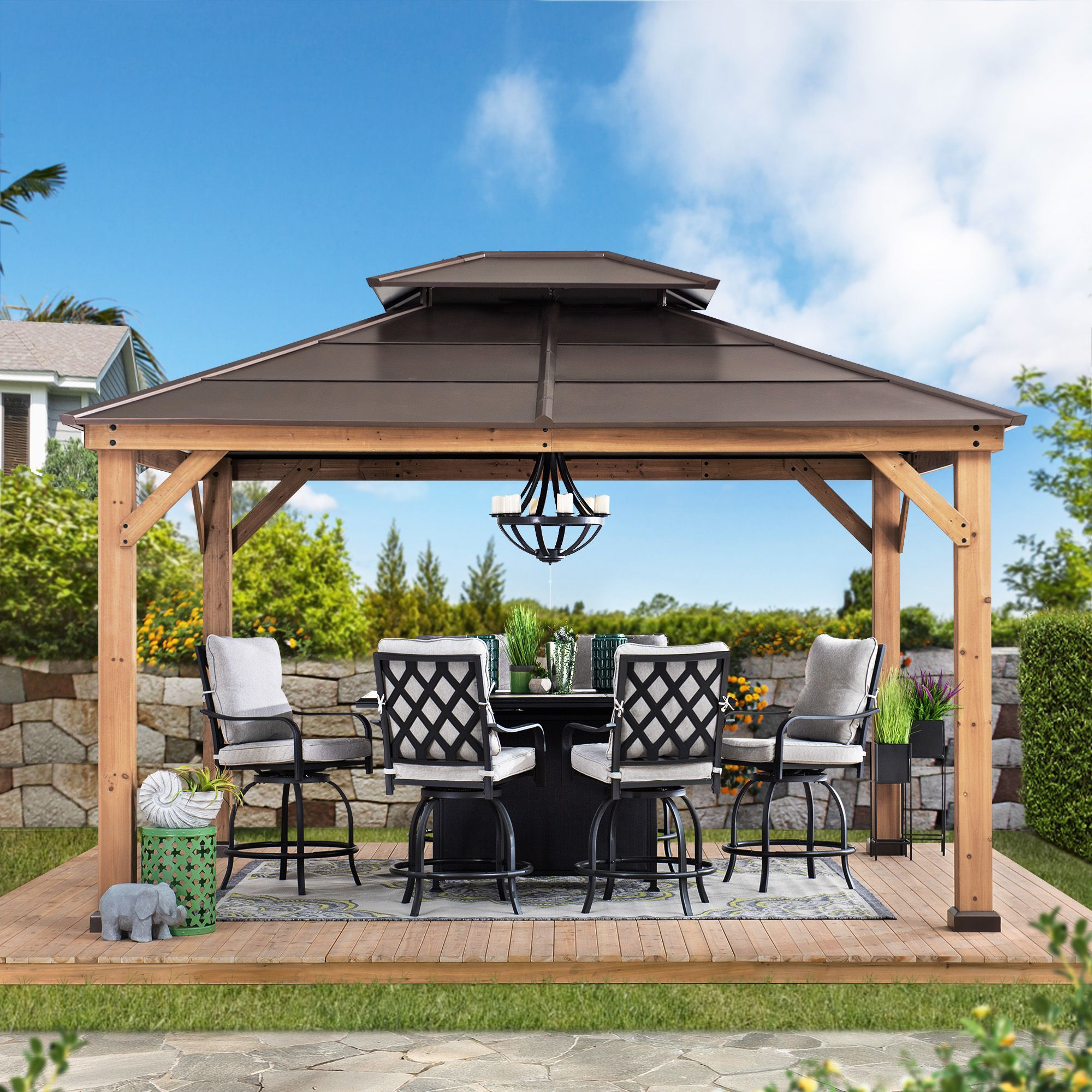 Sunjoy Missouri Collection 10 Ft X 12 Ft Cedar Framed Gazebo With Brown Steel 2 Tier Hip Roof Hardtop Walmart Com In 2020 Gazebo Backyard Gazebo Gazebo Roof