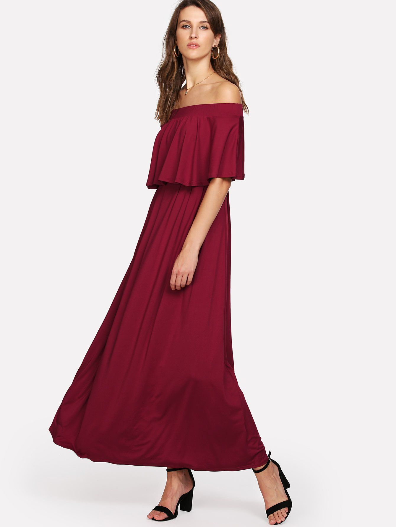 Milumia womens off the shoulder a line neckline ruffle party maxi