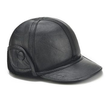 winter sheepskin leather warm lined with rabbit baseball cap ear flaps woolrich fleece mens