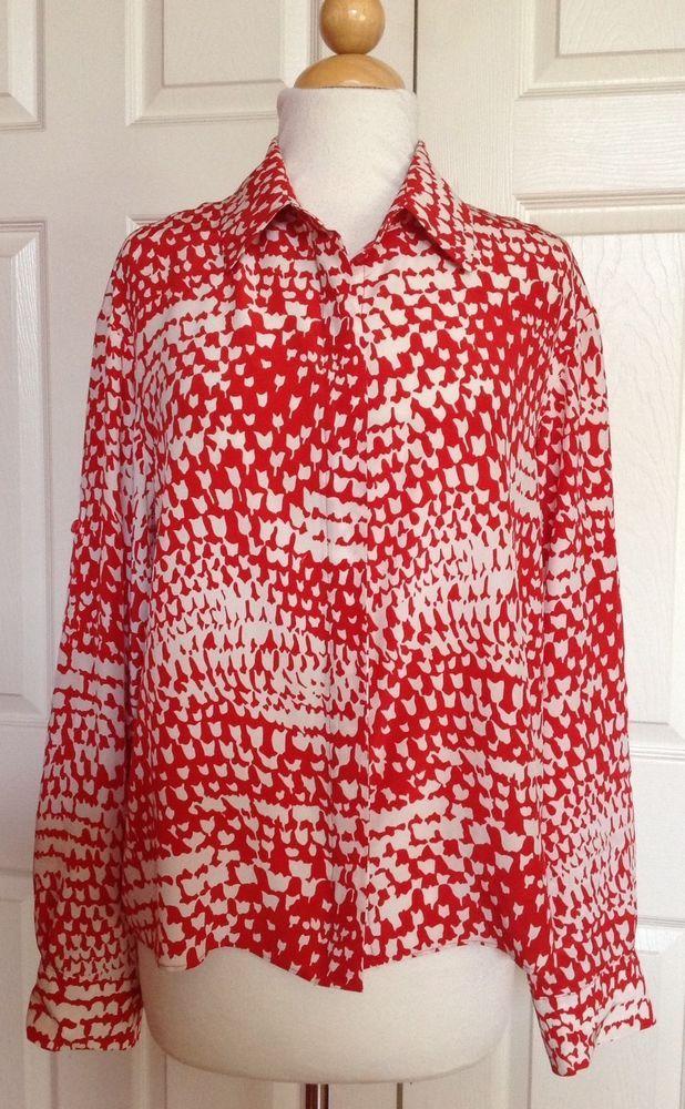 815b15d61e5ee5 PARKER Red Print 100% Silk Button Front Long Sleeve Shirt Size M  Parker   ButtonDownShirt  Career