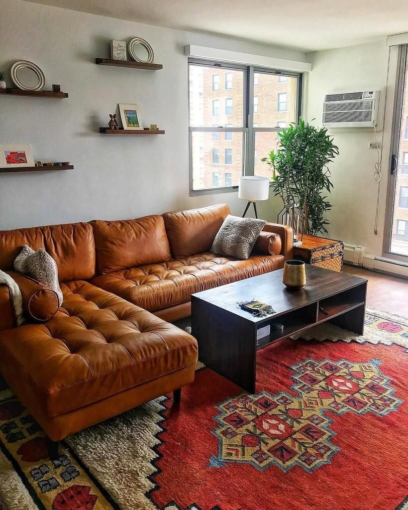 Sven Charme Tan Left Sectional Sofa Mid Century Living Room Decor Leather Couches Living Room Rugs In Living Room