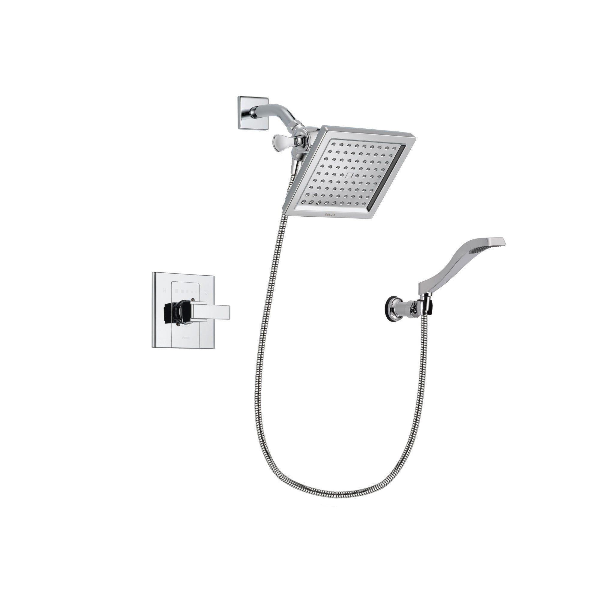 Delta Arzo Chrome Finish Shower Faucet System Package with 6.5-inch ...