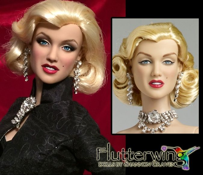 """Original Tonner Marilyn Monroe """"Diamonds"""", shown inset.  Larger image is after full repaint. www.flutterwing.com dolls by Shannon Craven"""