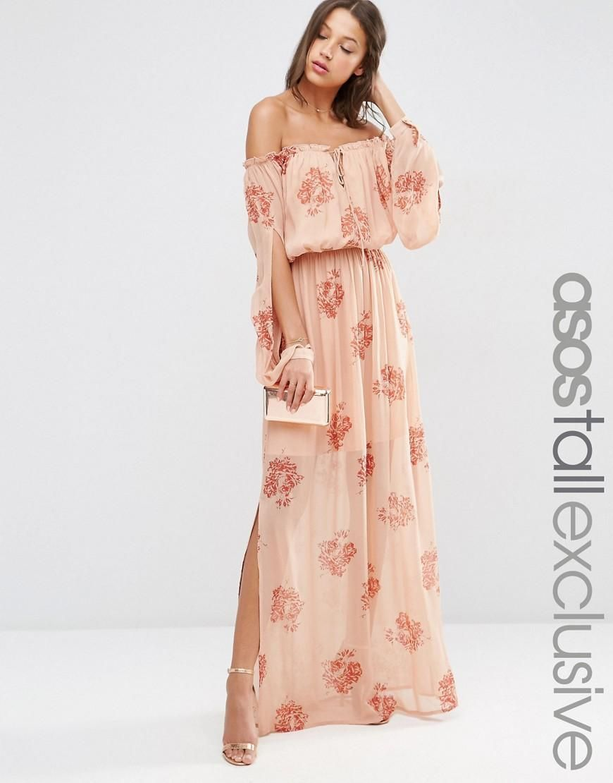 TALL Off Shoulder Maxi Dress In Peach Floral Print | Pinterest