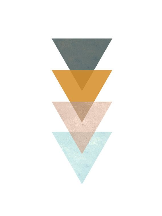 Mustard Yellow Triangle Print Turquoise Blue by