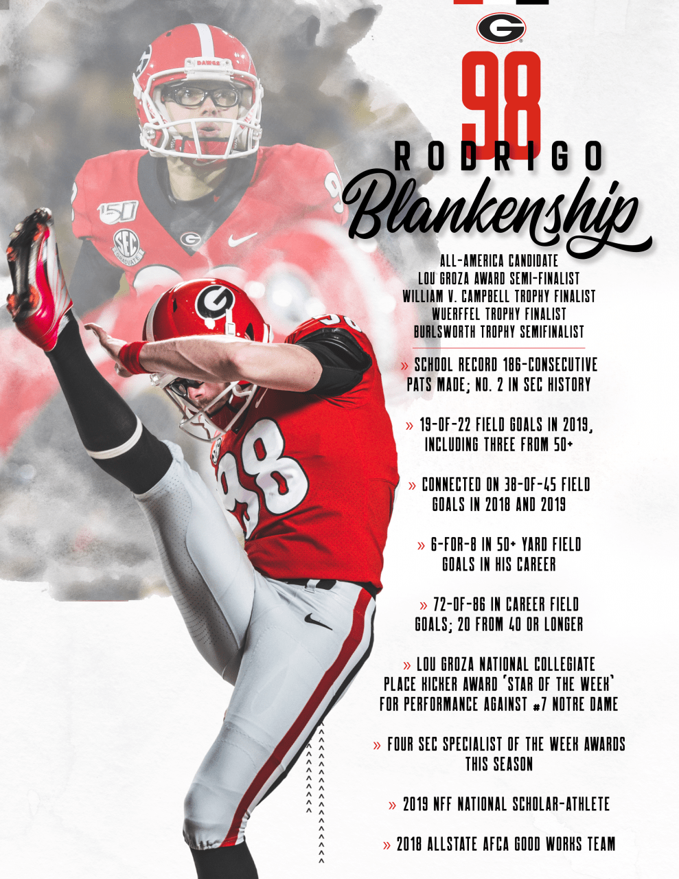 Uga Kicker Rodrigo Blankenship Up For Best College Kicker Award Georgia Football Georgia Bulldogs Georgia Girls
