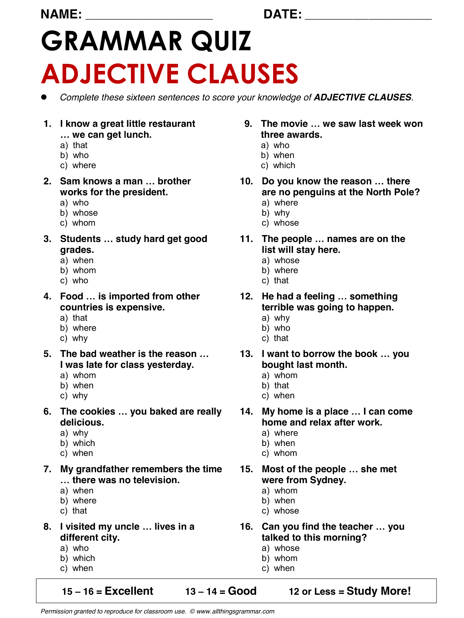 English Grammar Adjective Clauses Lthingsgrammar