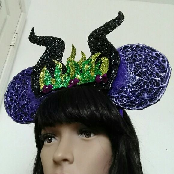 Maleficent Inspired Mouse Ears Handmade by me and attached to a metal headband. Accessories Hair Accessories