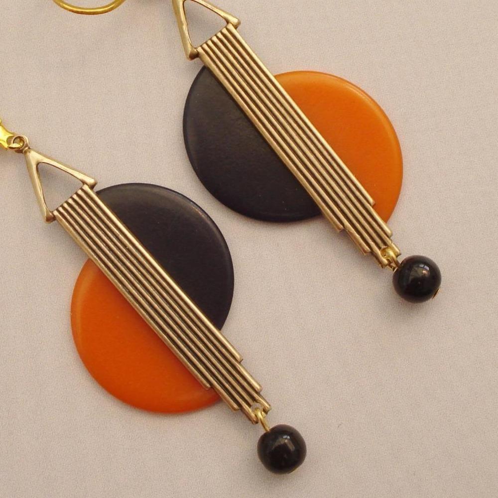 d7d5202b44f4 Fabulous vintage art deco geometric orange   black bakelite earrings ...