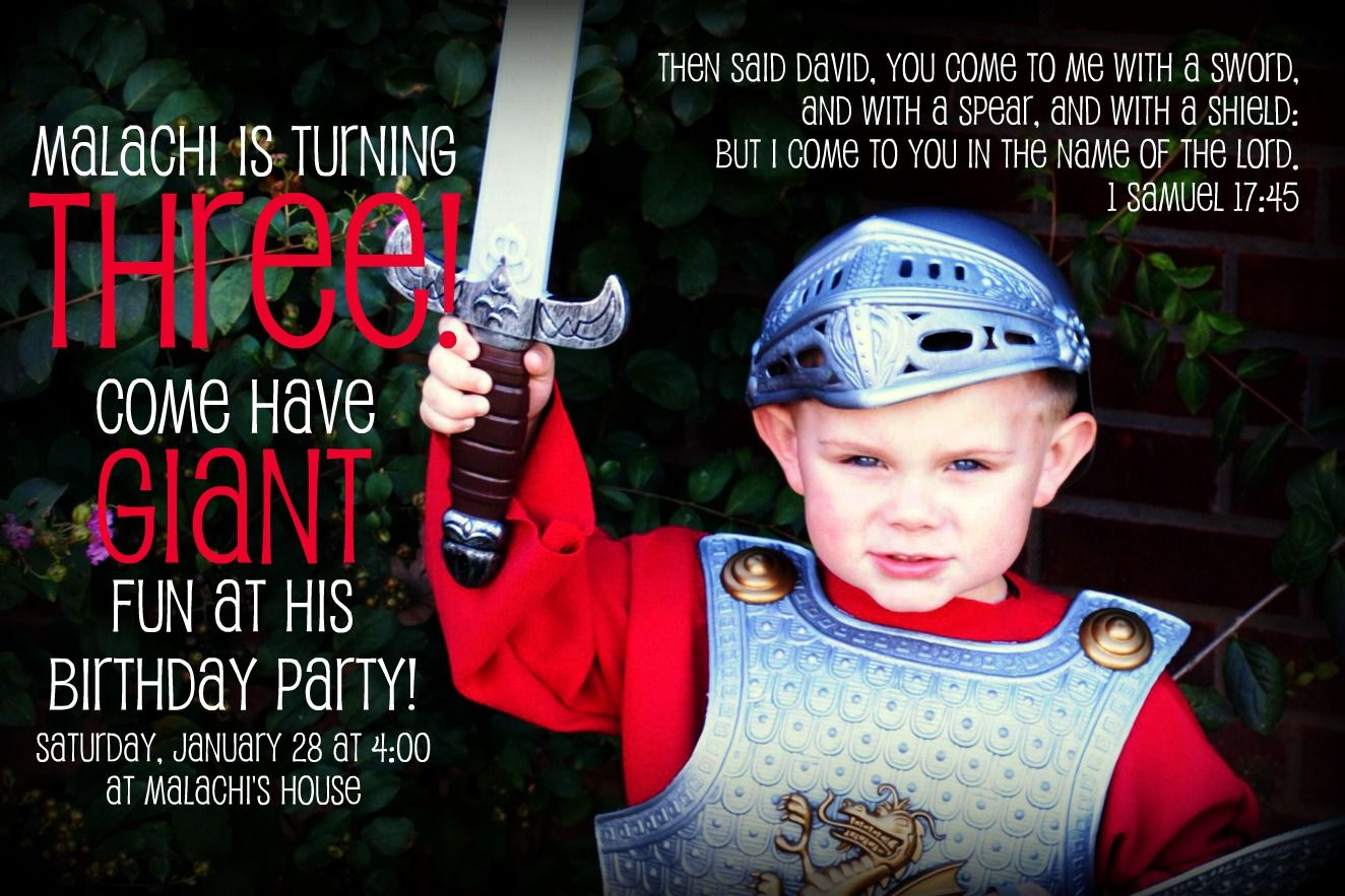 I designed this invitation for my sons david and goliath themed i designed this invitation for my sons david and goliath themed birthday party stopboris Gallery