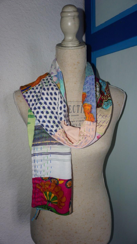 Echarpe en coton patchwork multicolore finitions inspiration chiku chiku    Echarpe, foulard, cravate par bila-touchatou 29c2cb81f3c