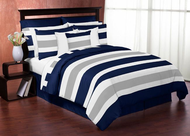 sweet jojo designs modern navy grey kids twin bedding set for teen boys bedroom. Black Bedroom Furniture Sets. Home Design Ideas