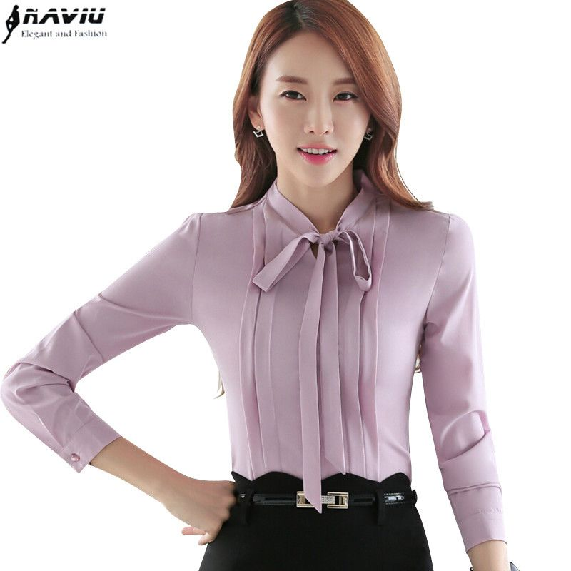 3f0b65d684 Cheap 2016 Otoño OL elegante delgado arco camisa de manga larga de las  mujeres señoras de la oficina Formal blusa de la gasa más el tamaño de la  moda tapas ...