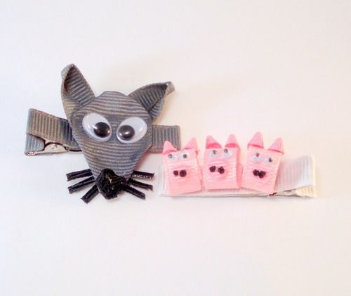 Three Little Pigs and Wolf Ribbon Sculpture Hair Clips | YouCanMakeThis.com