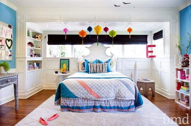 chambre ado fille grand lit avec beaucoup de couleurs | Décoration ...