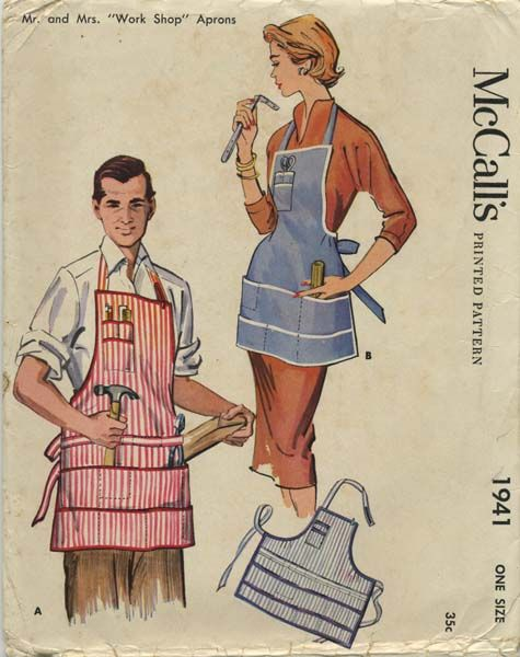 Mccall 39 s 1941 vintage mr and mrs work shop apron for Patron tablier vintage