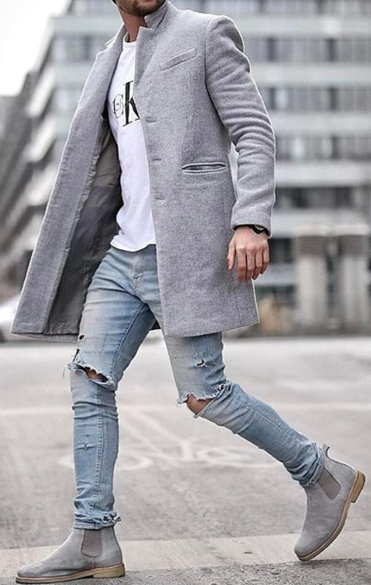 Hot on Instagram! 8153 Like so far. Perfect coordination between the gray suit and boots CK ...