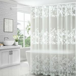 Transparent Floral Shower Curtain In 2020 Floral Shower Curtains Bathroom Shower Curtains Fabric Shower Curtains
