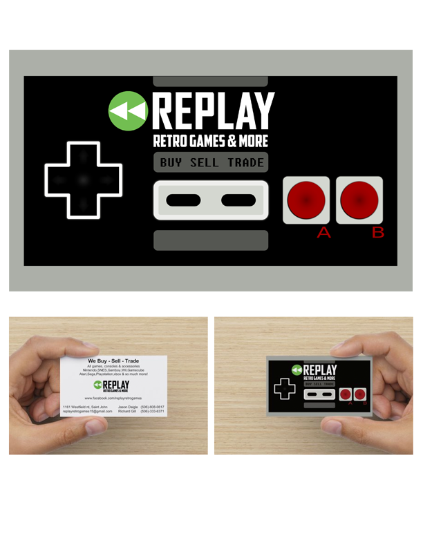 Business cards for <<REPLAY video game store | Business cards ...