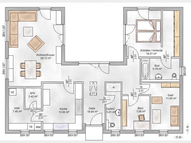 Hausansicht ElbeHaus® Bungalow 3123U Haus grundriss