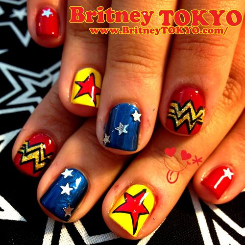 Nails Wonder Woman Can Nail Art Be Feminist: Britneytokyo: Wander Woman Nail Art By Britney TOKYO