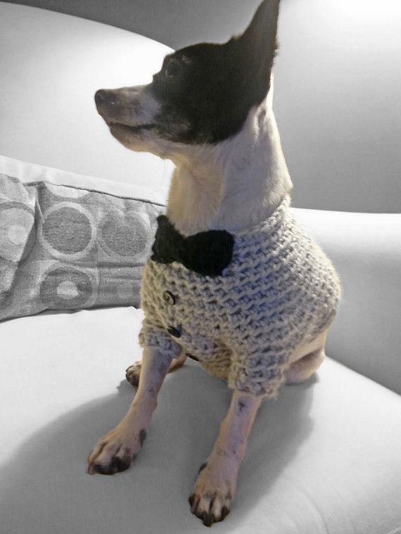This dog sweater is designed like a tuxedo. Dress your pup in it for ...