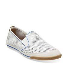 Clarks Mego Slip Men's White Leather Loafers Casual Shoes 26106971