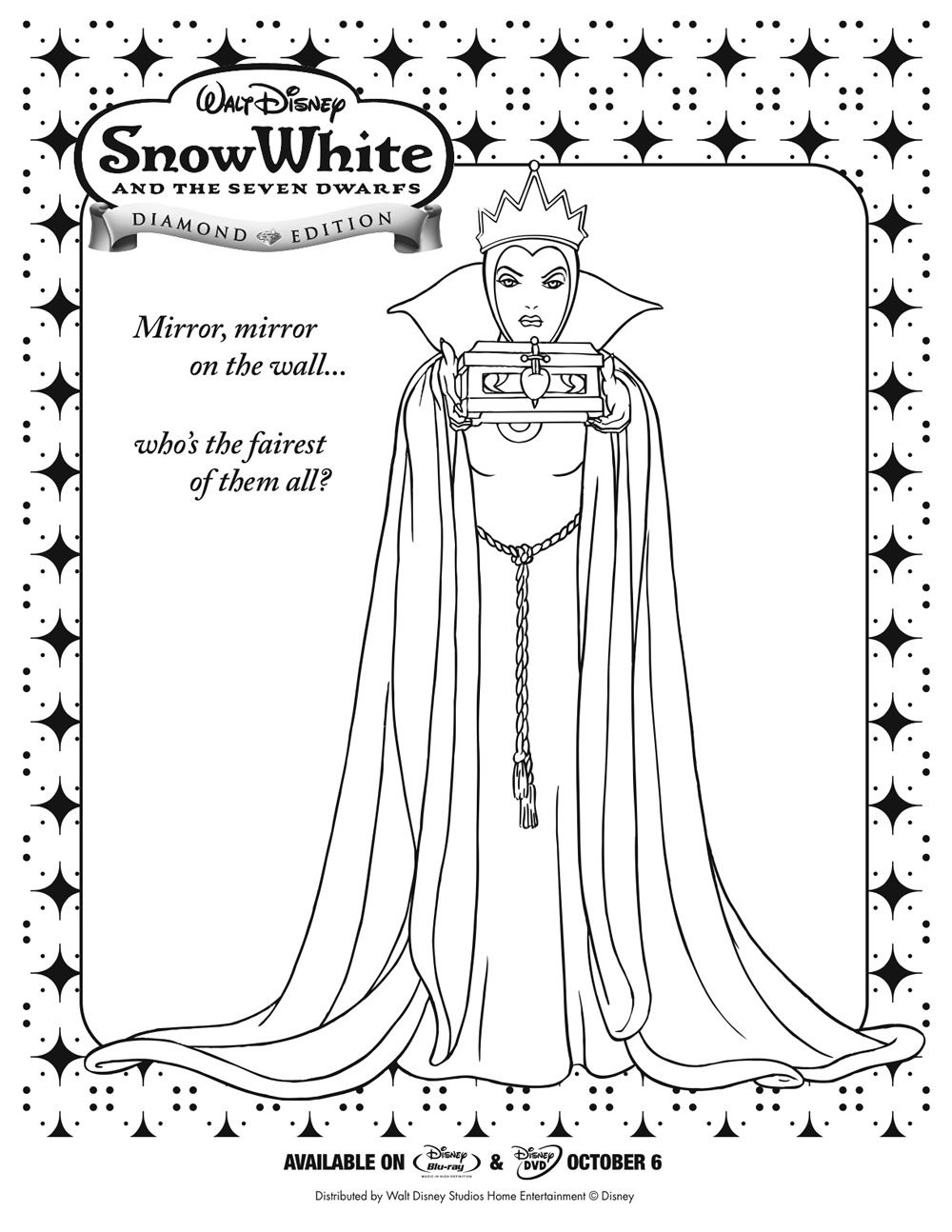 mirror coloring pages for kids snow white queen coloring page