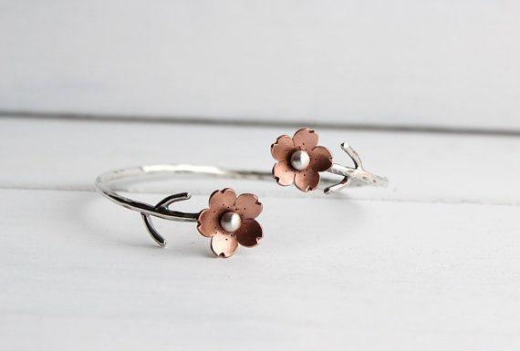 Cherry Blossom Flower Branch Cuff, Spring jewelry, 1 Sakura bracelet, Gifts For Mom, Spring Wedding Jewelry, Plum Blossom, Wedding Jewelry,