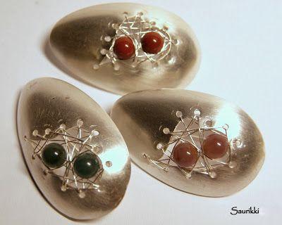 Silver spoon broochs