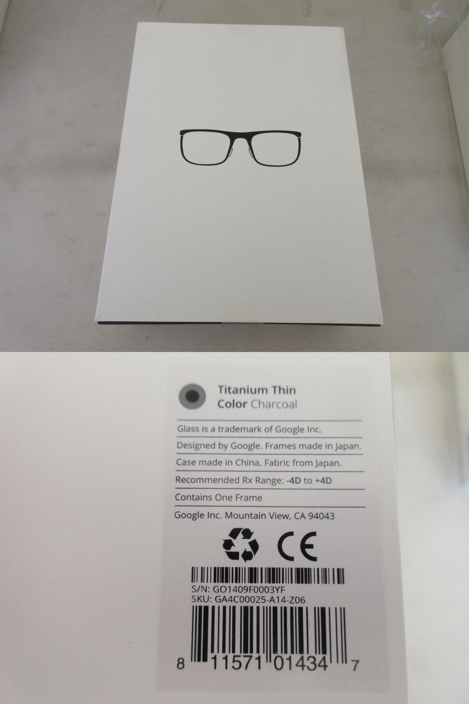 9461325fd33e Smart Glasses  Google Glass Titanium Thin Frames New In Box (Color  Charcoal) -
