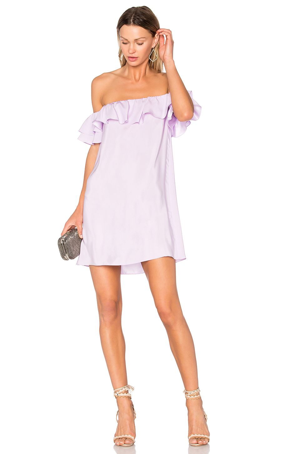 I need a dress to wear to a summer wedding  Wear this pastel purple ruffle off the shoulder dress  Fashion