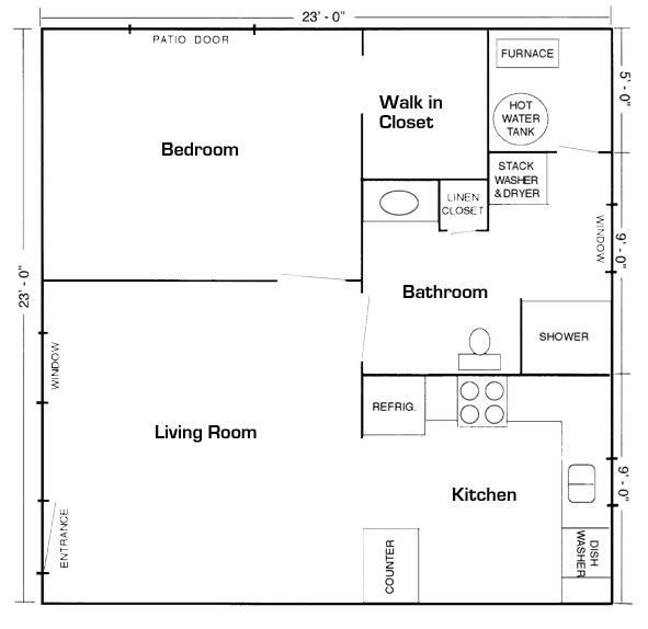 20'x20' apt. floor plan | mother in law suite picture gallery