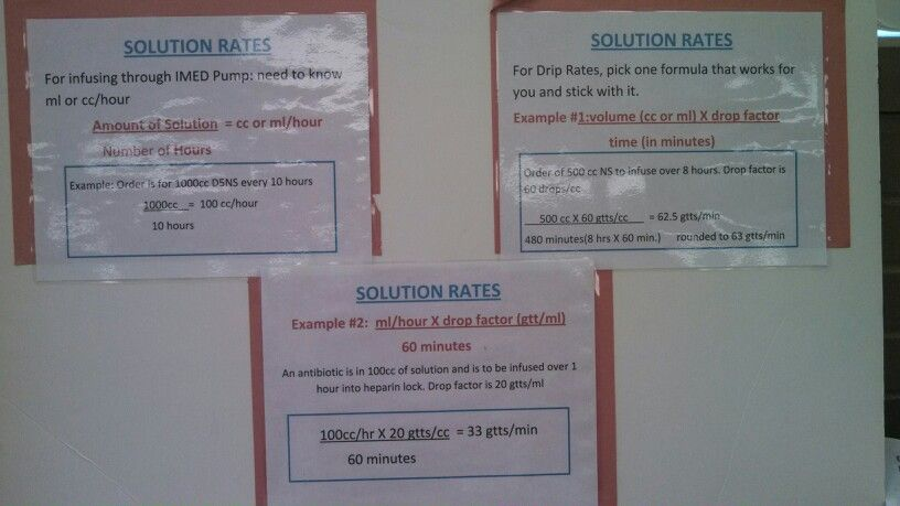 IV Solution Rate examples nursing Pinterest