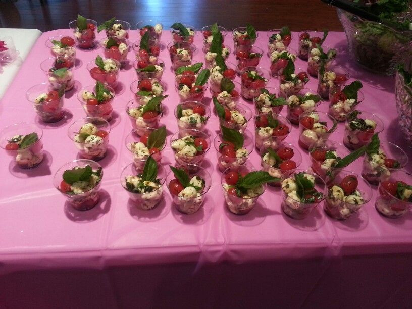 Mozzarella and tomato basil cups baby girl shower