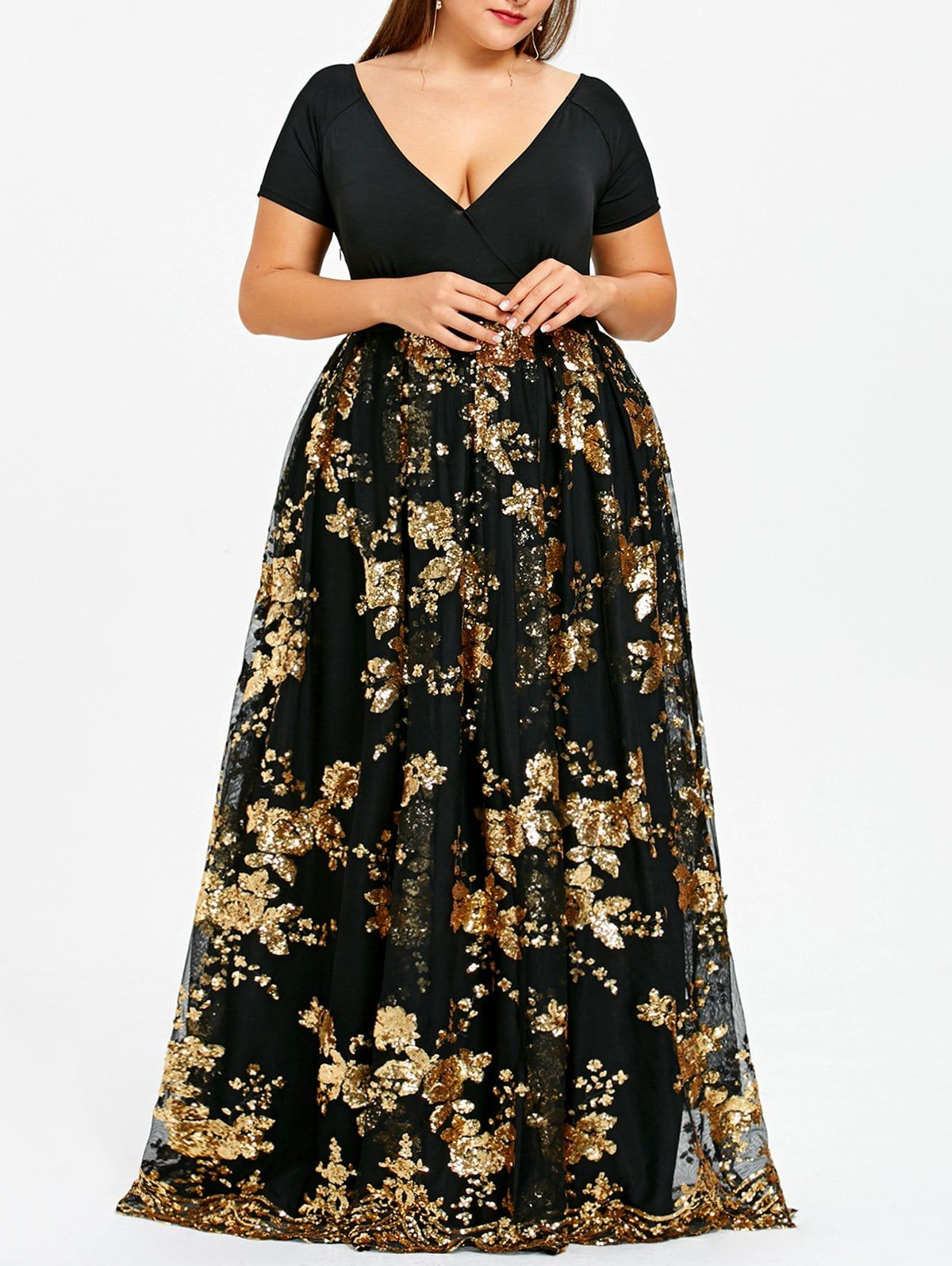 Plus Size Floral Sequined Maxi Prom Dress Maxi Dress Prom Sparkly Maxi Dress Maxi Dress [ 1596 x 1200 Pixel ]