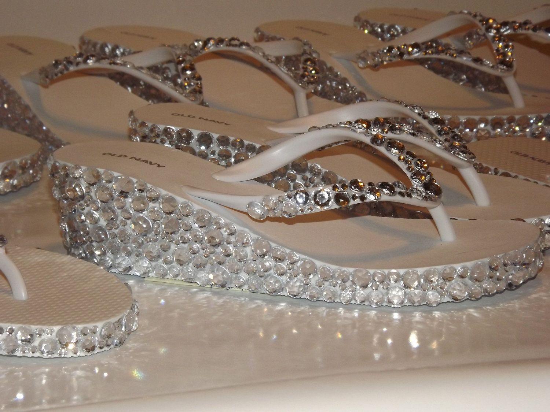 Rhinestone Bling Flip Flop Wedge Sandals Bridal By -9535