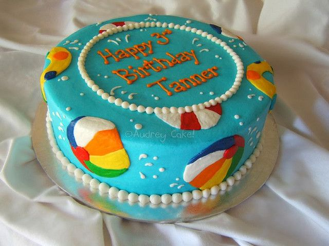 Terrific Beach Ball Cake With Images Beach Ball Birthday Pool Party Funny Birthday Cards Online Inifodamsfinfo