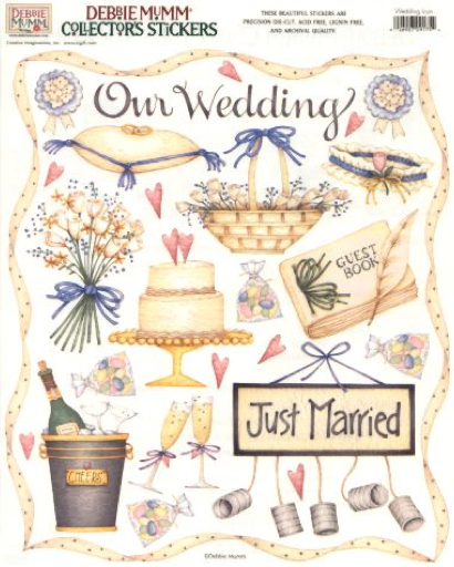 JUST MARRIED Wedding Scrapbook Sticker