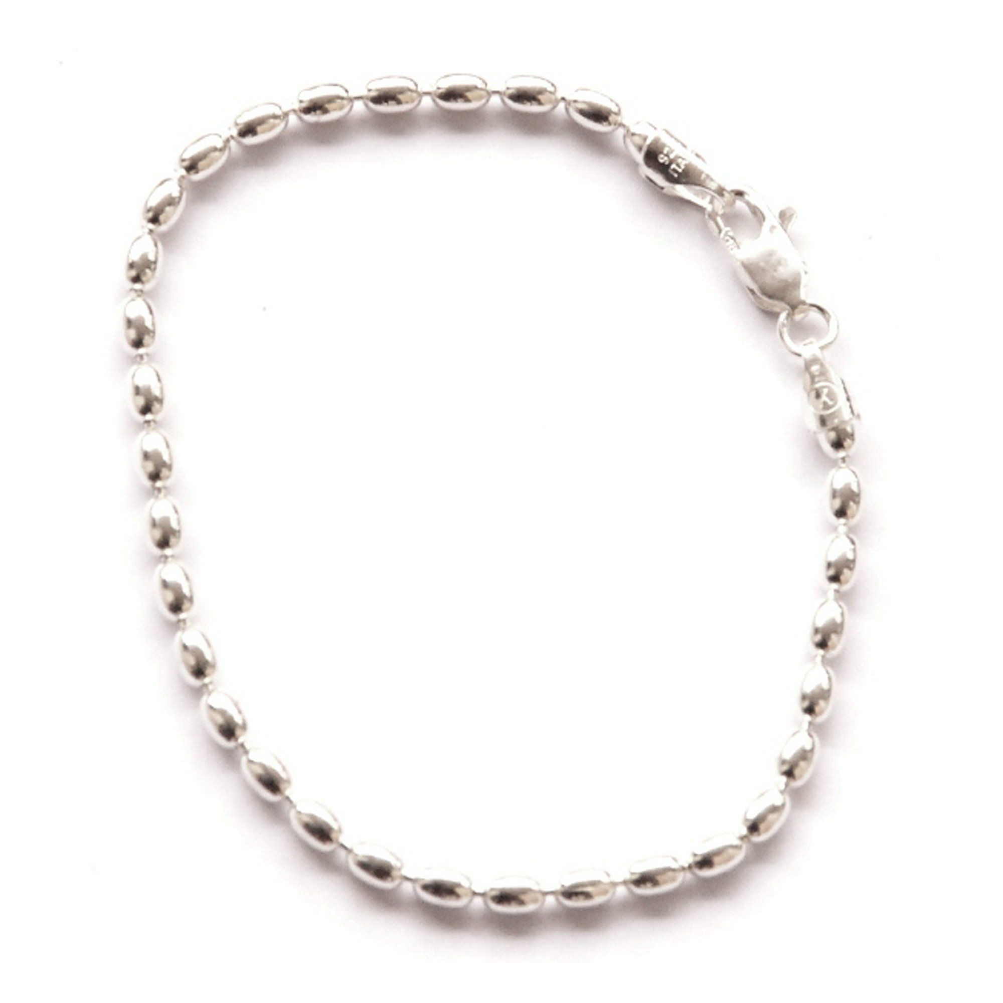 Sterling Silver 10inch Charleston Rice Bead Link Anklet Small Ankle Bracelet 2x3mm Oval Beads Italy You Can G Rice Bead Ankle Bracelets Charleston Rice Beads
