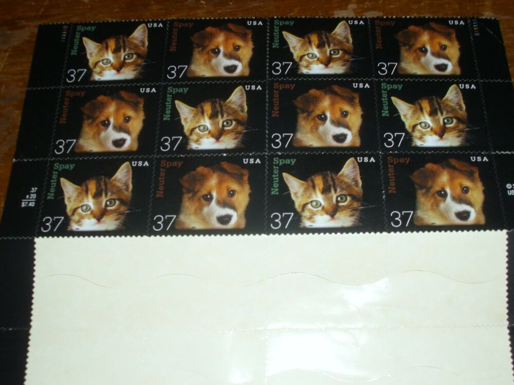 12 2001 Neuter And Spray Cat And Dog Stamps 37c 37 Cents Smoke Free Dog Cat Neuter Dogs