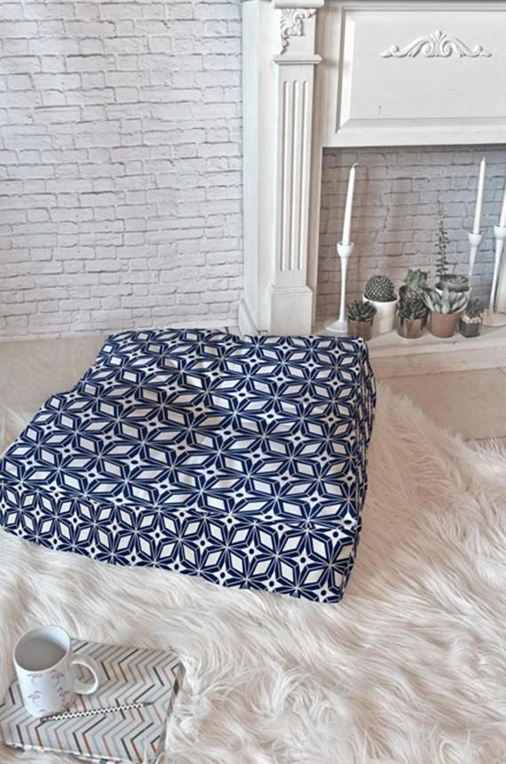 Floor Cushion // Floor Pillow // Mid Century Modern // Dorm Decor // Floor Pouf // Floor Seating // Retro Decor // Navy Blue // Starburst