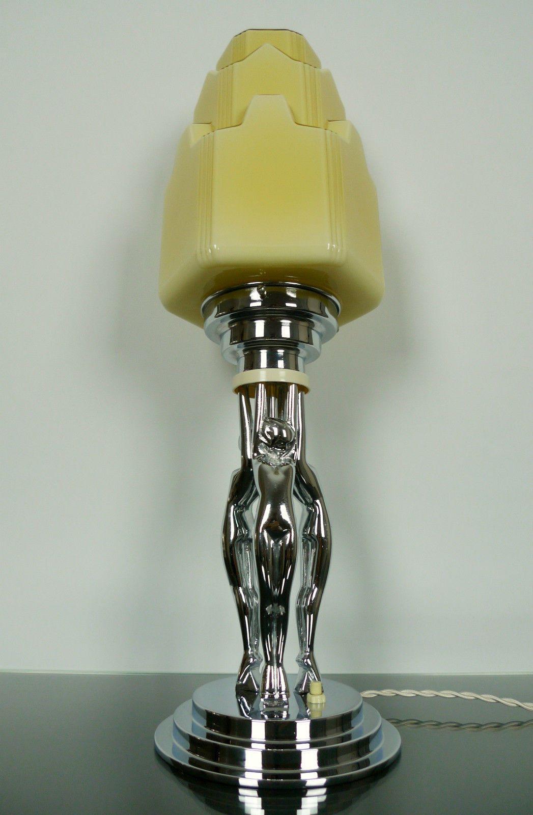 Art Deco Triple Diana Lady Lamp Antique 1930s Chrome Bakelite Skyscraper Shade Art Deco Lighting Art Deco Lamps Elegant Art