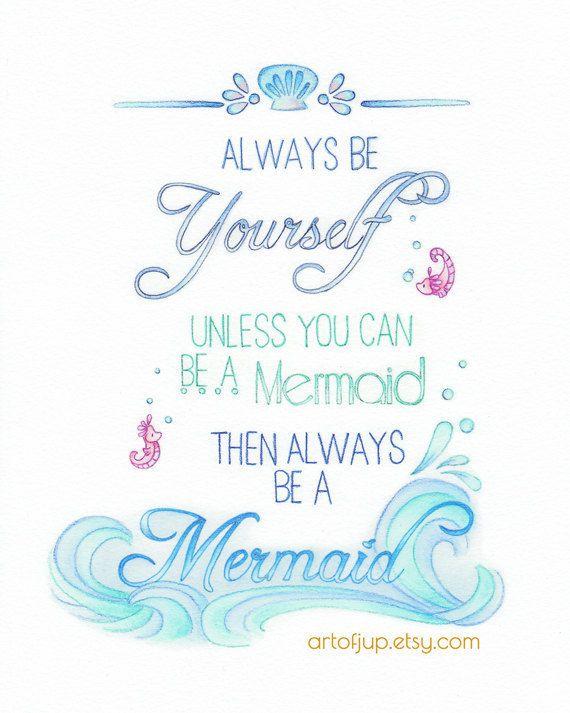 Mermaid Art Quote Wall Art Art Print Mermaid Decor Mermaid