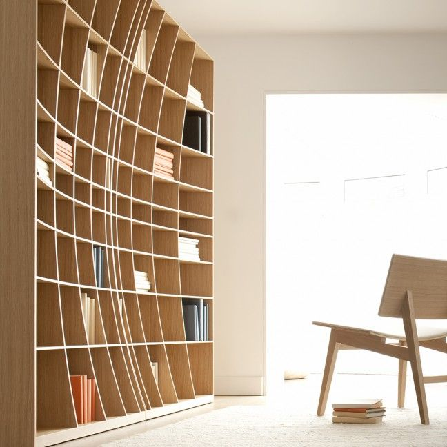 62 Home Library Design Ideas With Stunning Visual Effect: 'Concave' Bookcase By Simon Pengelly