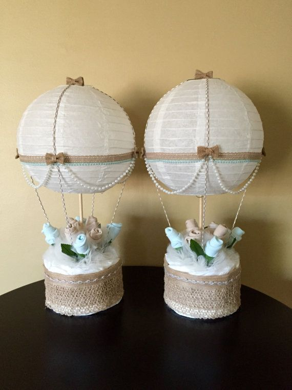 Hot air balloon baby shower table centerpiece nursery