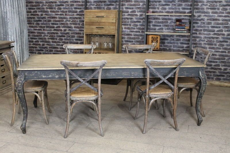 French Style Rustic Oak Dining Table With Distressed Base 1 8m
