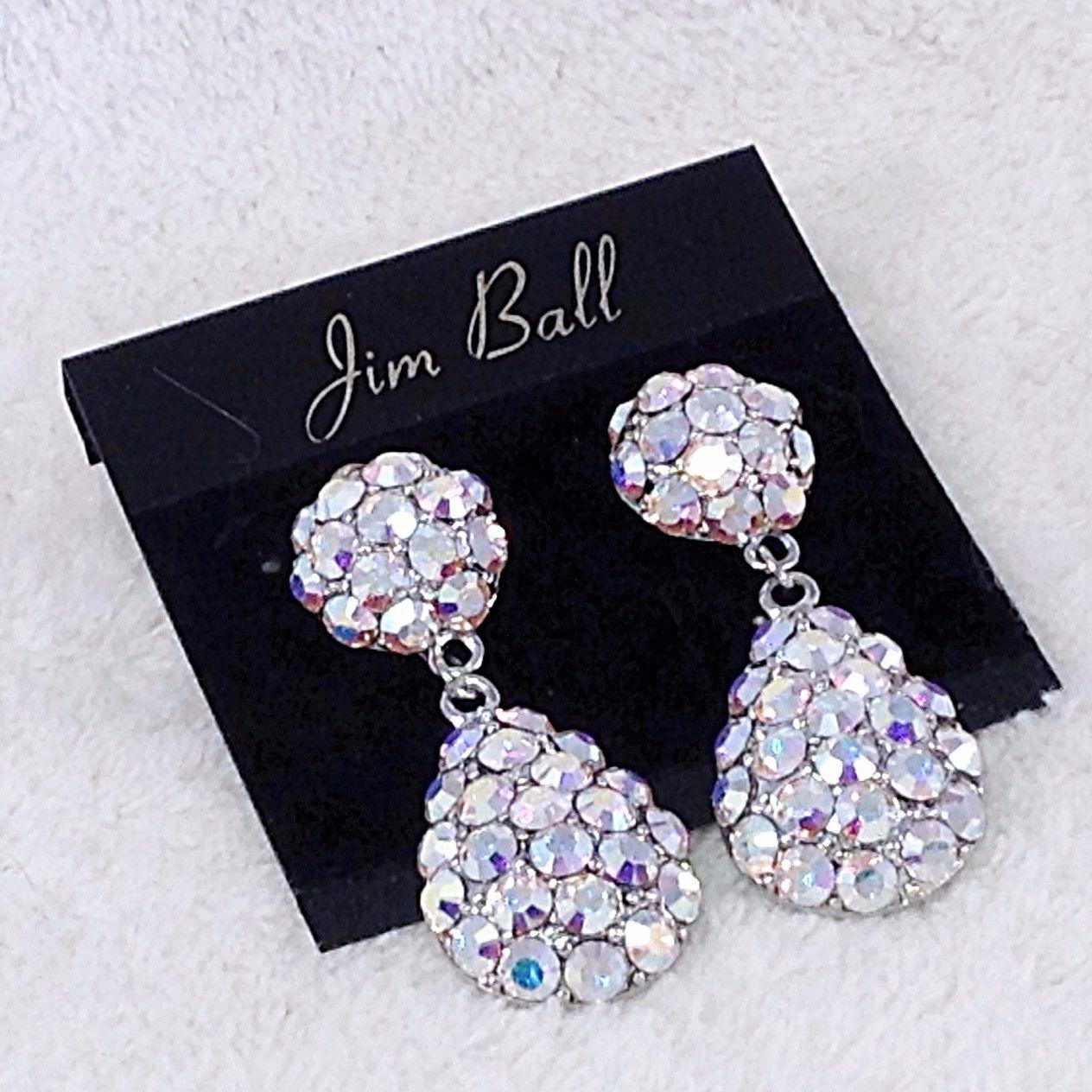 Swarovski Ab Crystal Teardrop Pave Dangle Earrings