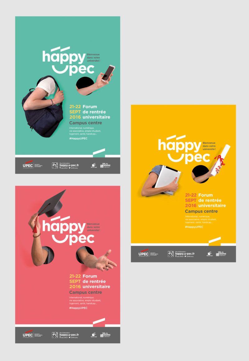 Happy Upec Un Logo Qui Donne Le Sourire Grapheine Concept Publicitaire Affiches Creatives Affiches Campagne